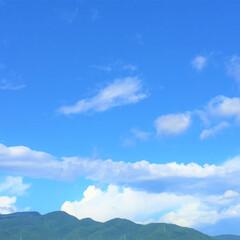 今日の空/青空/天気/雲/景色/風景 今日の空。 帯のように流れる雲がポイント…(1枚目)