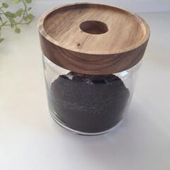キッチン/収納/コーヒーの粉/ガラス瓶/キャニスター キッチンで使っているモノ。 コーヒーの粉…(1枚目)