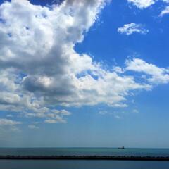 旅/海/フェリー/北海道/本州/苫小牧/... 旅の景色。 海の上からパチリ。 北海道と…