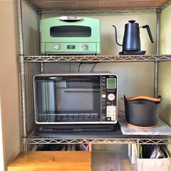私のお気に入り/キッチン収納/アラジンのオーブントースター/山善の電気ポット/イッタラの鍋/余裕の空間/... 私のお気に入りの空間。 アラジンのオーブ…