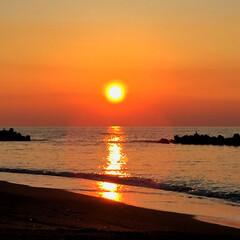 旅の景色/風景/北海道/オロロンライン/サンセットビーチ/夕日/... 旅の景色。 北海道羽幌のオロロンラインか…
