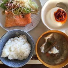 私のご飯/幸せ/鮭/ハラミ/豆腐/ラー油/... 私のご飯。 鮭のハラミが好きなので、ここ…(1枚目)