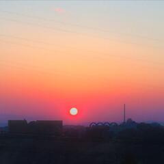 お出かけワンショット/夕日/釧路/おでかけワンショット お出かけワンショット。 釧路の夕日は色が…(1枚目)