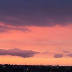 わたしのGW/夕日/真っ赤に染まる空 GW初日の夕日。 空が燃えるように赤く染…