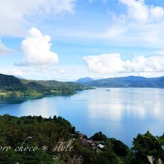 旅の景色。/北海道/洞爺湖/秋の湖/旅 旅の景色。 洞爺湖を一望できる展望台から…(1枚目)