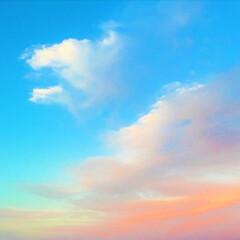 夕焼け/雲/景色/空 夕焼けに染まった雲。 ピンク色が可愛いで…