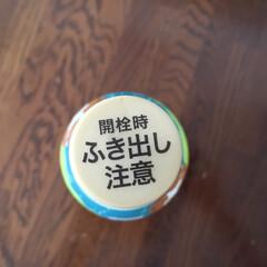北海道余市の白ぶどうソーダ/ふき出し注意/でもそうでもなかった/炭酸飲料 炭酸飲料は、振ったらだめですよ! でも、…