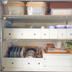 キッチン/収納/無印良品/ファイルボックス/サイズ違い 暇なときは、キッチン収納を見直すのが 私…