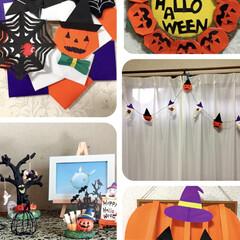 大きなかぼちゃ壁面/ガーランド/リース/折り紙/ハンドメイド
