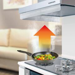 キッチン/リビング/ニオイ/料理のニオイ/料理/調理/... レンジフードの吸い込み吸引量UP モレて…(1枚目)