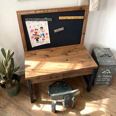 子どものいる暮らし/子ども部屋/子供部屋/学習家具/学習机/リビング学習椅子/... 春から一年生になった娘に作ったロースタイ…