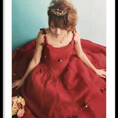 ブーケ/ティアラ/ドレス/成人式/朱色/おでかけ/... 今年の二女の成人式の写真。 着物はモノト…
