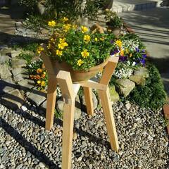 ガーデニング/花の台 上の足の継ぎ手を補強した