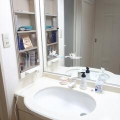 ソープディッシュ/メイクルーム/洗面所大公開/洗面道具/洗面所は綺麗に使おう 掃除がしやすいようになるべく物を下に置か…