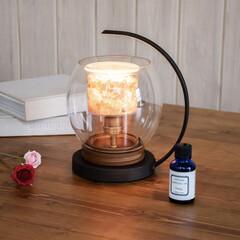 シャリオ Chalio アロマライト 水晶(その他キッチン、日用品、文具)を使ったクチコミ「優しい灯りに照らされた天然石のパワースト…」
