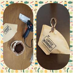グルーガン/消臭剤/DIY/珈琲カス/珈琲/ハンドメイド/... 飲み終わったコーヒーかすで消臭剤を作りま…