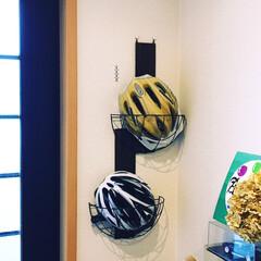 自転車ヘルメット/100均/セリア/ダイソー/玄関/収納 保管場所に悩む自転車用ヘルメットの保管用…