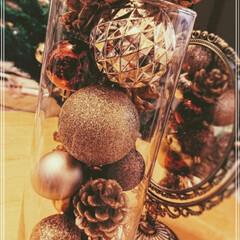クリスマスオーナメント/ダイソー/100均/雑貨/はじめてフォト投稿 フラワーベース×クリスマスボール×松ぼっ…