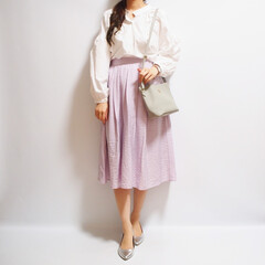ファッション/コーデ/ママコーデ/オフィスコーデ/きれいめ/GU/... GUパープルフレアスカート着回し1/3 …