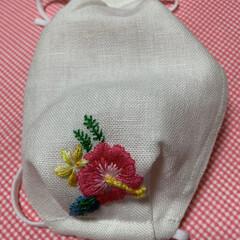 ハイビスカス/ツユシバ/トンボ/アイヌ柄 刺繍したのがたまってきたので久々縫いまし…