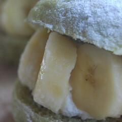 おやつの時間/朝ごはん/青汁パン/らくらくホイップ/バナナパン/ホームベーカリー/... バナナパンを作りました。 生地に青汁を入…(2枚目)