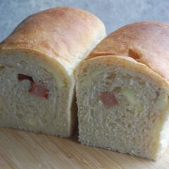 ウインナーとチーズの食パン/食パン/ホームベーカリー/手作りパン/おうち時間/一眼レフカメラ ウインナーとチーズの食パンを作りました。(1枚目)