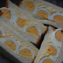 サンドイッチ/たまごサンド/あさごぱん/朝ごはん/おうち時間/一眼レフカメラ/... たまごサンドイッチを作りました。 近所の…