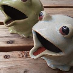 灰皿/カエル/動物モチーフグッズ カエルの灰皿です。 昔カエルグッズにはま…
