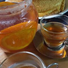 シフォンケーキ/おうちカフェ/フルーツインティー/紅茶/お菓子作り オレンジのシロップ煮を紅茶に入れてみまし…