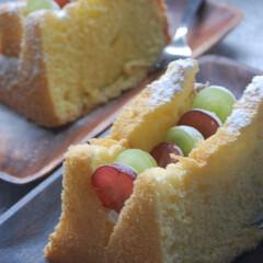 ぶどう/ぶどうシフォンケーキ/フルーツシフォンサンド/シフォンケーキ/おやつタイム/手作りスイーツ/... シフォンケーキにぶどうをサンドしました。…