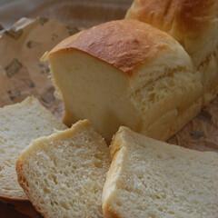 あさごぱん/朝ごはん/食パン/ホームベーカリー/パン作り/手作りパン/... 食パンを作りました。 何も具が混ざってい…