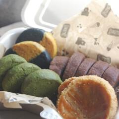 クッキー生地消費/ココアクッキー/抹茶クッキー/かぼちゃクッキー/竹炭クッキー/市松模様クッキー/... クッキーを作りました。 ガレットブルトン…