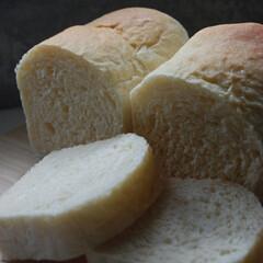 朝ごはん/食パン/ホームベーカリー/手作りパン/一眼レフカメラ 食パンを作りました。 面倒くさかったので…(1枚目)