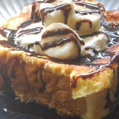 ハレパン/食パン専門店/チョコソース/冷凍バナナ/冷凍生クリーム/チョコバナナ/... また厚切りフレンチトースト作りました。 …