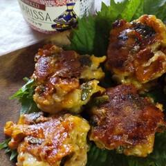 カルディ/ハリッサ/調味料/チーズ/大葉/豚こま肉/... 豚こまと大葉とチーズをこねこねして焼きま…