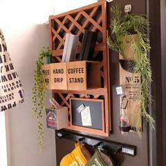 フェイクグリーン/セリアDIY/Seria/収納/ラップ収納/ラップ/... 我が家のラップ収納。  冷蔵庫横にセリア…
