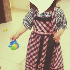 スカートリメイク/リメイク/娘のためにDIY/ミシン/裁縫/洋裁/... 私のスカートを娘のエプロンドレスにリメイ…