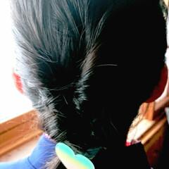 5分でできる/簡単ヘアアレンジ/小学生女子/記録用/ダイソー 本日のヘアアレンジ ダブルくるりんぱロー…