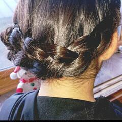 5分でできる/簡単ヘアアレンジ/小学生女子/記録用 本日のヘアアレンジ 片編み込みのアップヘ…