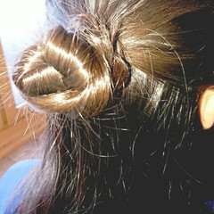 5分でできる/簡単ヘアアレンジ/小学生女子/記録用 本日のヘアアレンジ  ハーフアップお団子…