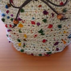 口金ポーチ/かぎ針編み 編み物 記録  セリアで見つけたポンポン…(1枚目)