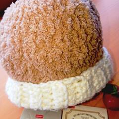 ダイソー/100均/ハンドメイド/ファッション/かぎ針編み/編み物/... ふわもこくまさん🐻みたいなニット帽❤️ …