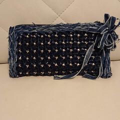 お財布/デニムヤーン大好き/ラメルヘンテープ/手作り/ハマり過ぎ おはようございます🌸  ラメルヘンテープ…