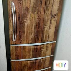 レトロ感/冷蔵庫/ダイソー/リメイクシート/おしゃれ/DIY/... キッチン同様のリメイクシートで統一感だし…