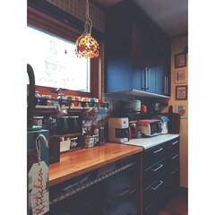 カフェスペース/背面収納/ペンダントライト/DeLonghi/TOFFY/トースター/... 最近の我が家のカフェスペース☆  コーヒ…