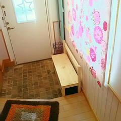 玄関収納/ベンチ/SPF材/DIY 玄関にスッキリベンチ作りました☆ アイデ…