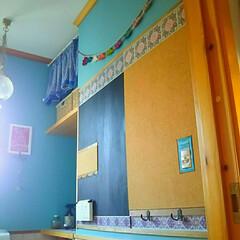 壁紙DIY/トイレの壁/フック/掲示板/コミュニケーションボード/コルクボード/... トイレにコミュニケーションボードを作って…