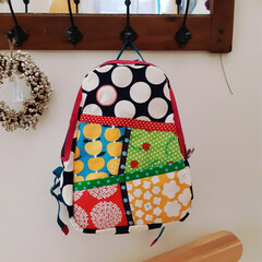 娘用/暮らしを楽しむ/colorful/カラフル/あんぱん柄/水玉/... 娘の通園用のリュックを作りました☆ 遠く…