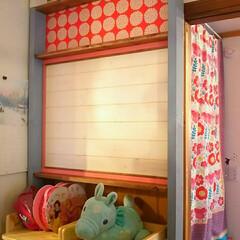 姉妹部屋/子供部屋/掲示板/壁面収納/ラブリコ/DIY/... 引戸が引込む壁を使いたいなぁと思い、ラブ…
