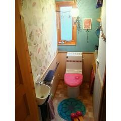 カラフルインテリア/壁紙屋本舗/壁紙/インテリア/トイレ/DIY/... 壁紙を一部ブルーグレーの壁紙に張り替えま…